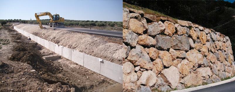 Muro de Módulo de contención VS Muro de escollera colocada